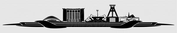 Kennzeichen Topper Skyline Bochum schwarz