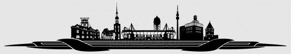 Kennzeichen Topper Skyline Dortmund schwarz