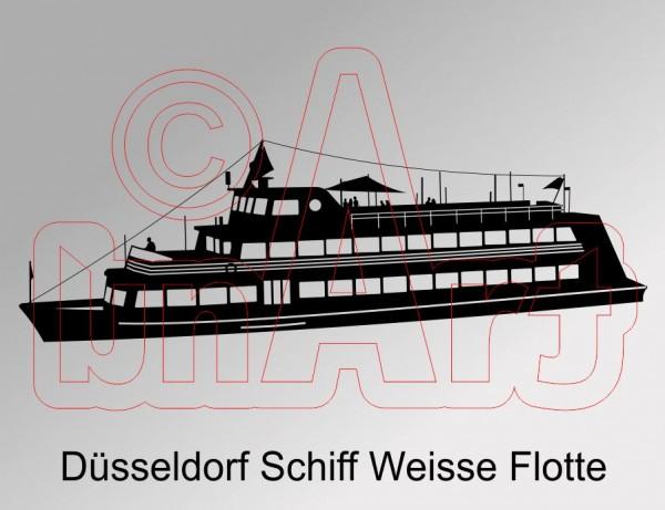 Vektor Düsseldorf Schiff Weisse Flotte