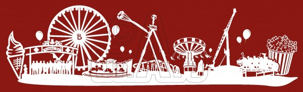 Sticker Kirmes Herne Skyline weiß