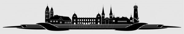 Kennzeichen Topper Skyline Wuppertal schwarz